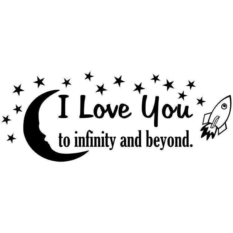 I Love You to Infinity and Beyond vinyl wall quote with moon