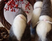 Reservation for Nancy Set of three Santa in Grey Needle Felted Wool. Christmas Decorations. CUSTOM ORDER