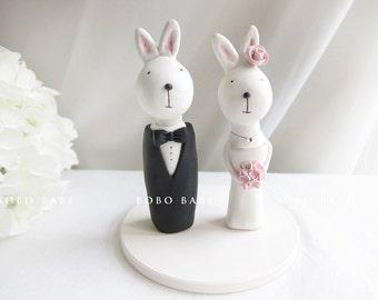 Custom Love Wedding Cake Toppers - Bunny