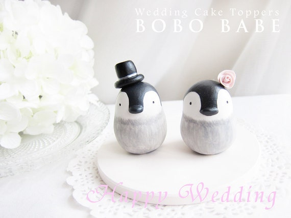 Custom Wedding Cake Toppers - Love Penguins Baby with base