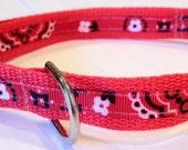 LAST ONE - 3/4 inch wide adjustable side release pet collar - red bandanna - red webbing - medium