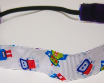 Non slip ribbon headband - colorful robots on white grosgrain - 7/8 inch (running, working out, everyday: women and girls)