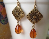 Autumn Beauty Antique Brass Earrings - gold and orange, mother's day gift