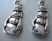 Snowman Earrings - Antique Pewter Holiday Earrings