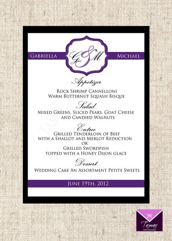 Printable Menu Card For Wedding Shower Dinner Party