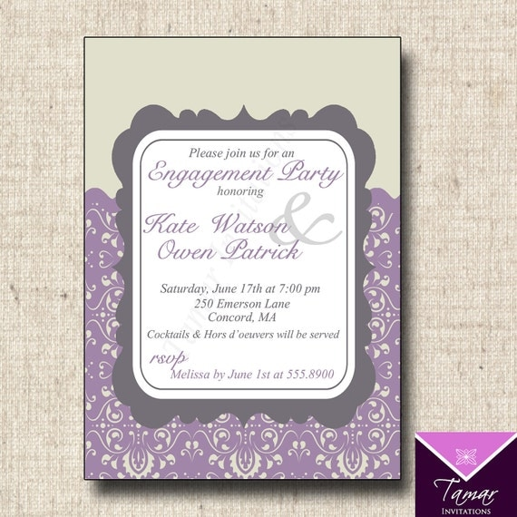 Printable Engagement Party or Bridal Shower Damask Invitation Card – Format of Engagement Invitation