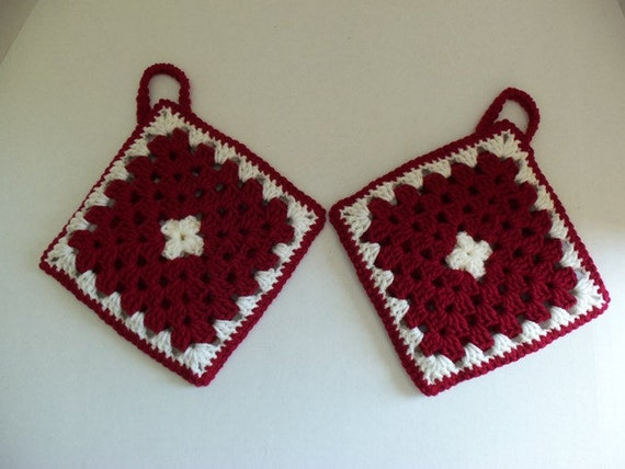 Granny Square Hot Pads - Red and White