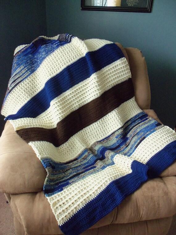 Brown, Aran, and Navy Blue Crochet Throw