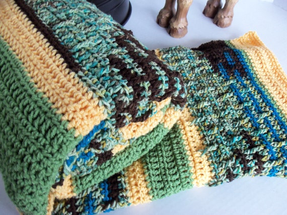 Greens, Browns, and Yellow Crochet Afghan