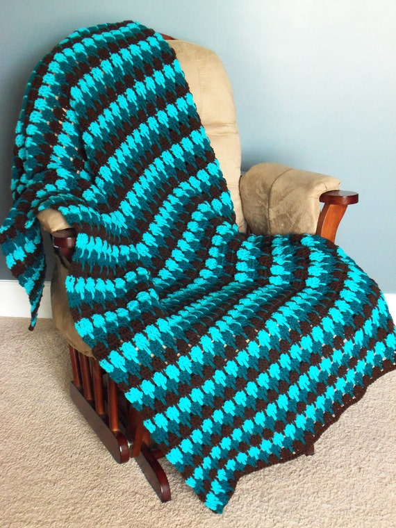 Turquoise and Brown Afghan Throw