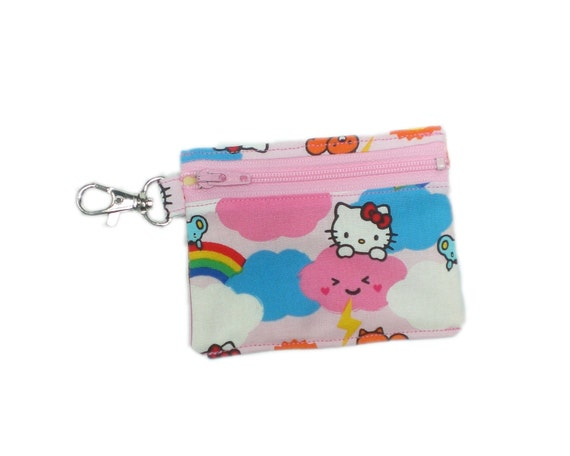 Hello Kitty 4in pink rainbows wallet card holder coin purse
