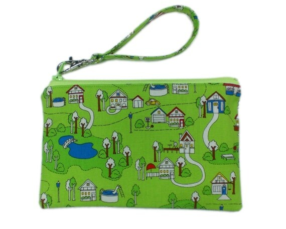 Summer town wristlet clutch 7inch green houses
