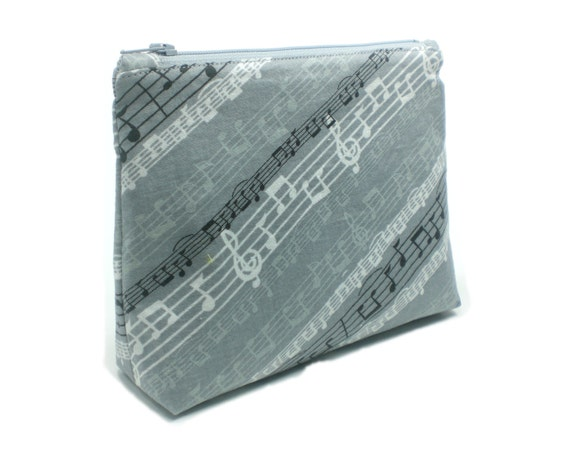 Music notes 7inch travel cosmetic bag