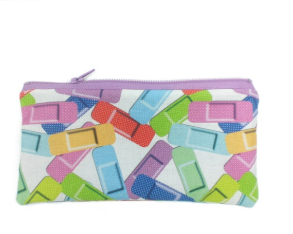 Rainbow Bandages ouch pouch - 7 inch zipper bag nursing graduation gift