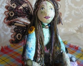 Fairy doll, butterfly wings, machine embroidered, OOAK, fantasy,soft sculpted, jointed,flower buttons.