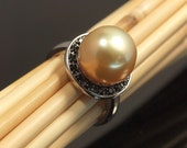 ON SALE South Sea Golden Pearl Ring Size 7