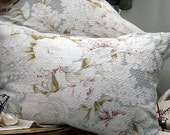 Vintage 1930s Floral English Roses and Lilacs Pale Muted White and French Beach Cottage Gray Blue Barkcloth Hemp Fabric Pillow