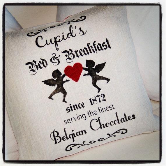 Vintage French Farmhouse European Linens Ticking Hemp Grain Sack Fabric Cupid Heart Hand Stenciled Valentine Throw Pillow