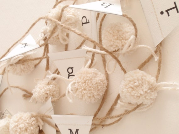Custom Pom-Pom and Paper Garland (Natural Cotton and Printed Cardstock), From 1 ft - 9 ft. -- As seen in Apartment Therapy