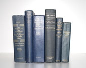 Navy Blue Books 6 Instant Library Collection Classic Interior Design Home Decor