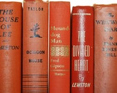 Reserved for Debbie- Orange Books 5 Instant Library Collection Photography Prop Wedding Decor Pottery Barn Style