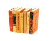 Reserved for Debbie- Tangerine Orange 7 Books Vintage Photography prop Home decor Yellow Orange Pottery Barn Style