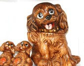 Vintage Dog Cookie Jar Matching Salt and Pepper Shakers Kitchen Home Decor