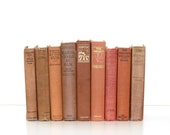 Earth Tone Vintage 9 Book Collection Pottery Barn Style Warm Peach Beige light Brown Tones home Decor Instant Library