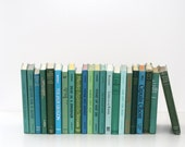 Front Page Featured-Green Blues 22 Book Library Filler Vintage Book Collection Interior Design