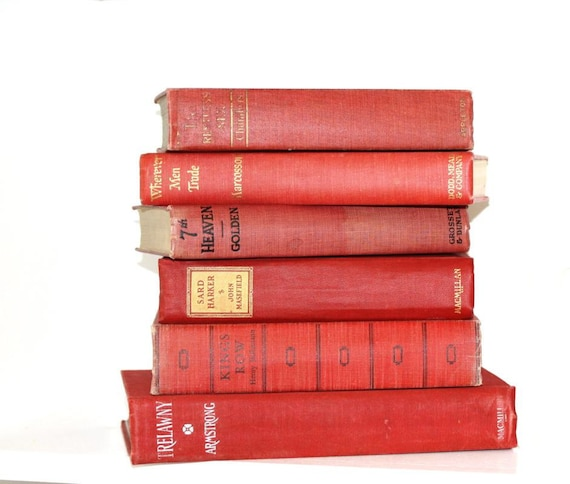 Red Books 6 Classic Vintage Collection Interior Design Photography Pottery Barn Style Wedding Decor