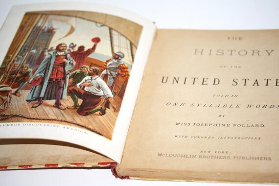 Vintage History Book Red White Blue 1800's