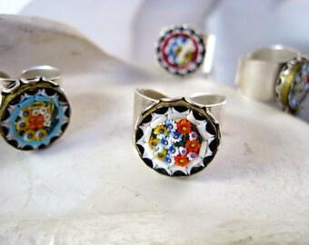 Vintage- Italian Mosaic-adjustable Ring-Handmade