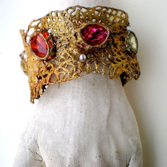 Gold & Multi- Mesh Cuff  Handmade One of a Kind by Pauletta