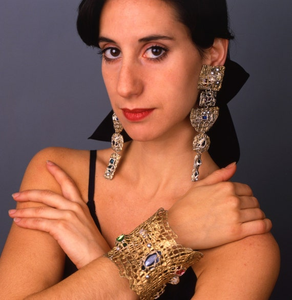 Gold Mesh Cuff with multi-colored jeweled stones Handmade by Pauletta -For Artists Exposed