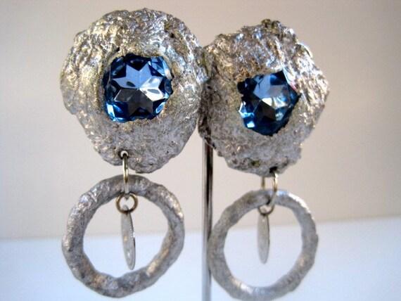 Chunky 'Flintsones' Blue and Silver one of a kind Hoop Earrings by Pauletta Brooks Wearable Art