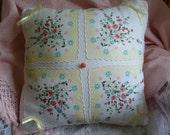 Unique Handmade Yellow  and White Vintage Handkerchief Pillow