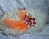 Vintage Upcycled Pale Peach Beaded Purse