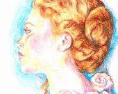 """Red Hair & Roses 11""""x14"""" Archival Art Print by Patricia Robin Woodruff"""