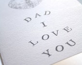 Dad I love you paper card with a heart