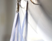 Earrings With Five Light BLue Ribbons