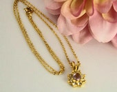 Vintage GoldTone Chain Necklace with Amethyst Pendent