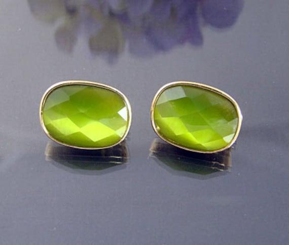 Vintage Green GoldTone Clip Earrings