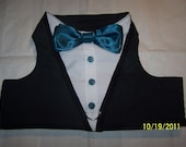 TUXEDO Dog Harness Velcro Black with Turquoise Bow Tie - MEDIUM and LARGE Size Listing