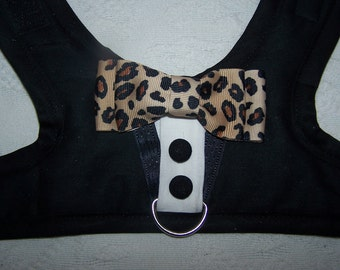 TUXEDO Harness Velcro Black with Leopard Bow Tie  - XSMALL and SMALL Size Dog