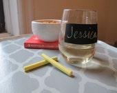 Stemless wine glasses - chalkboard label