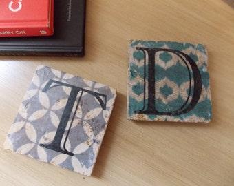 Monogramed Natural Stone Coasters