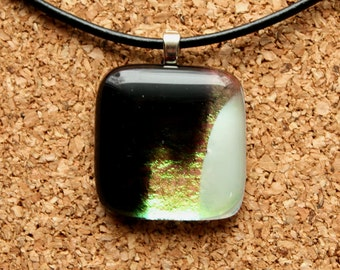 Black, White and Dichroic Fused Glass Pendant - Handmade Jewelry, Fused Glass Jewelry