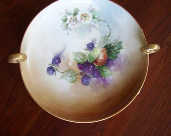 Handpainted Bavarian Candy Dish with Gold Handles