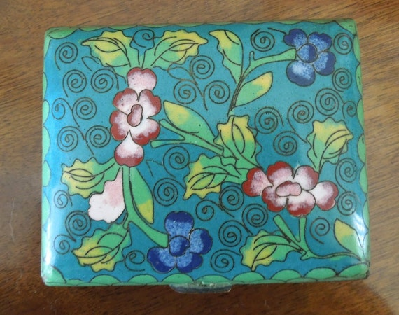 Small Cloisonne Box with brass feet