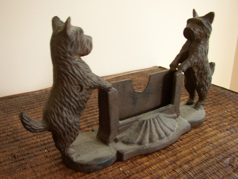 Cast Iron Business Card Holder Or Door Stop With Scotties Or
